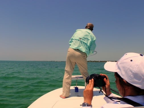 Keith Smith Hooked Up to A tarpon on Fly